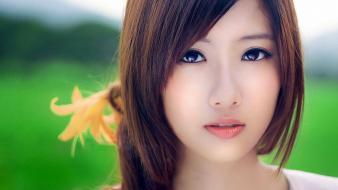 Brunettes women chinese asians faces wallpaper