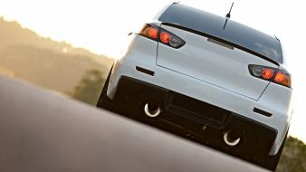 Cars roads tuning white mitsubishi lancer evolution x Wallpaper