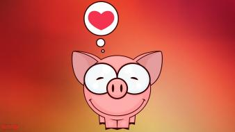 Cartoons love animals hearts wallpaper