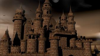 Castles night moon artwork digital blasphemy maximus light wallpaper
