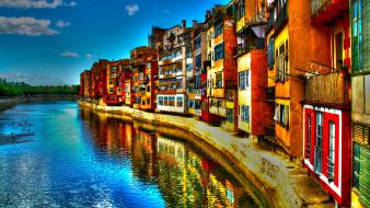 Clouds bridges italy hdr photography rivers cities girona wallpaper