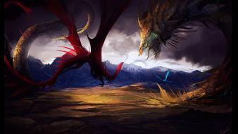 Clouds fantasy art drake battles drawings fan Wallpaper