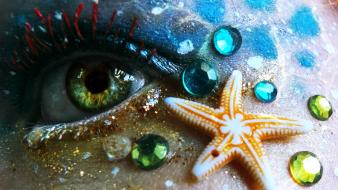 Eyes beach mermaid starfish wallpaper