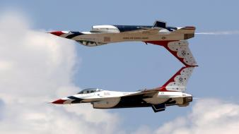 Fighting falcon jet aircraft thunderbirds (squadron) widescreen wallpaper