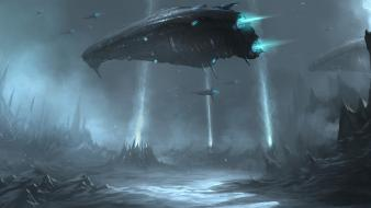 Futuristic fantasy art spaceships wallpaper