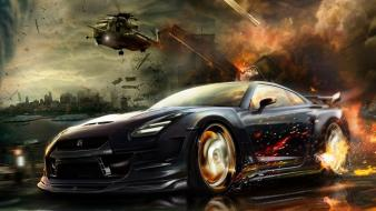 Helicopters cars nissan gtr gt-r wallpaper
