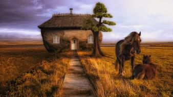 Houses fantasy art horses wallpaper