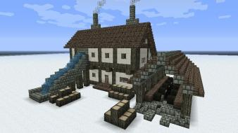 Houses minecraft wallpaper