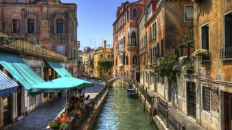 Houses urban people buildings boats venice italy rivers wallpaper