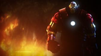 Iron man fire digital art characters 3d wallpaper