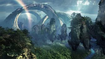 Landscapes nature avatar rocks fantasy art rainbows wallpaper