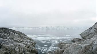Landscapes rocks islands greenland olaf otto becker sea wallpaper