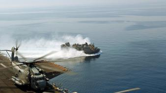 Military hovercraft sea Wallpaper