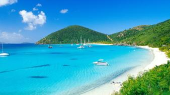Nature white boats british virgin islands bay wallpaper