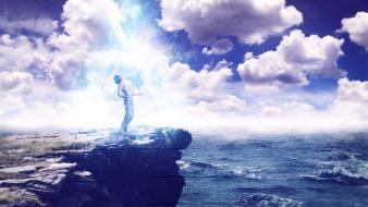 Rock men human miracle speedart skies sea Wallpaper