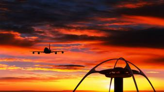 Sunset aircraft los angeles aviation boeing 747 wallpaper