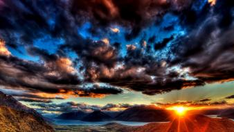 Sunset mountains clouds landscapes nature rivers wallpaper