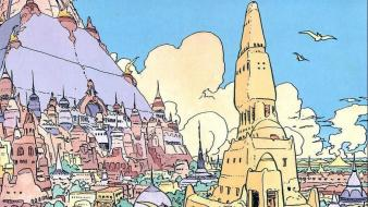 Traditional art moebius cities birds french artist wallpaper