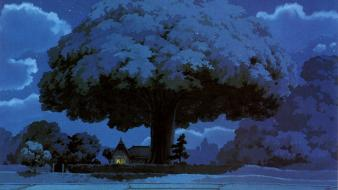 Trees night my neighbour totoro wallpaper