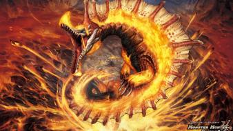 Video games fire lava monster hunter capcom drake wallpaper