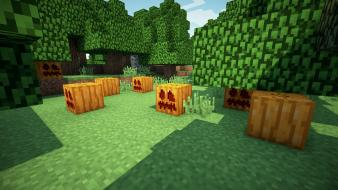 Video games minecraft pumpkins wallpaper