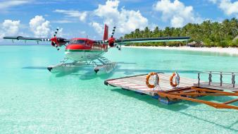 Water ocean landscapes nature beach aircraft tropical sea wallpaper