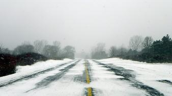 Winter roads wallpaper