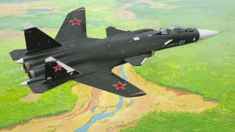 Aircraft military sukhoi su-47 berkut russians wallpaper