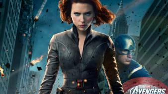 America redheads black widow the avengers (movie) wallpaper