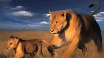 Animals illustrations mother cubs lions baby wallpaper