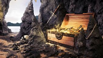 Artwork necklaces jewelry treasure chest swords caves wallpaper