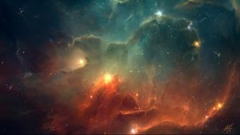 Blue outer space red stars nebulae colors wallpaper