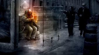 Bus stop homeless person vitaly s alexius wallpaper