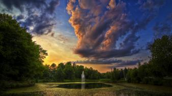 Clouds fountains lakes parks wallpaper
