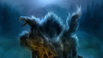Digital art concept drawings airbrushed three wolves wallpaper