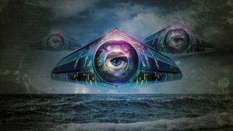 Eyes illuminati sea wallpaper