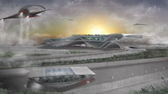 Futuristic airports wallpaper