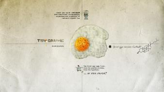 Humor surrealism typography fried eggs wallpaper