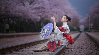 Korean japanese clothes parasol min seo hee wallpaper