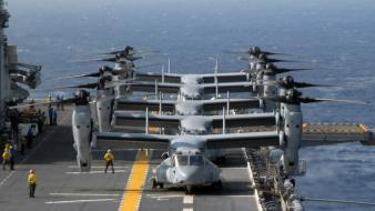 Military navy v-22 osprey carriers deck marines wallpaper