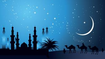Moon silhouette camels artwork makkah caravan arabia wallpaper