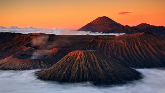Mountains nature volcanoes indonesia east-java bromo wallpaper