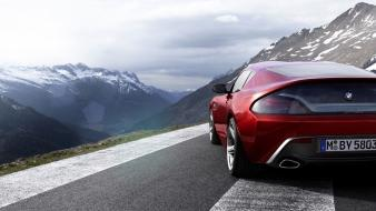 Mountains red cars roads bmw zagato concept wallpaper