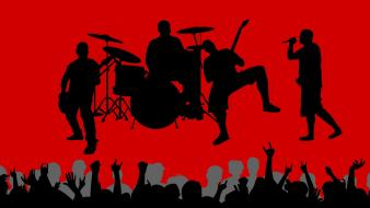 Music vector shadows crowd band red background wallpaper