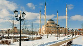 Nature snow mosque minaret street light Wallpaper