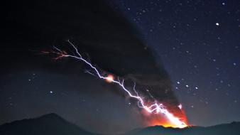 Nature stars volcanoes lava lightning skyscapes eruption magma wallpaper