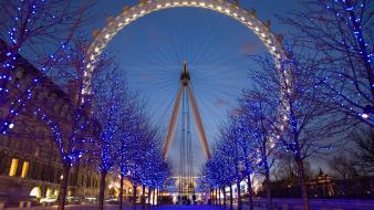 Nature winter lights london eye wallpaper