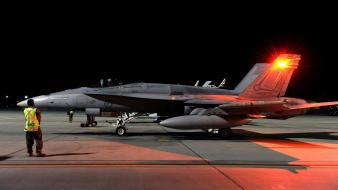 Night airplanes bomber fa-18 hornet jet aircraft Wallpaper