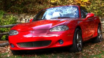 Red collectors mazda miata headlights tire tracks wallpaper
