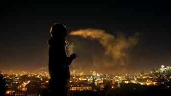 Smoking night smoke men people cigarettes sillhouette wallpaper